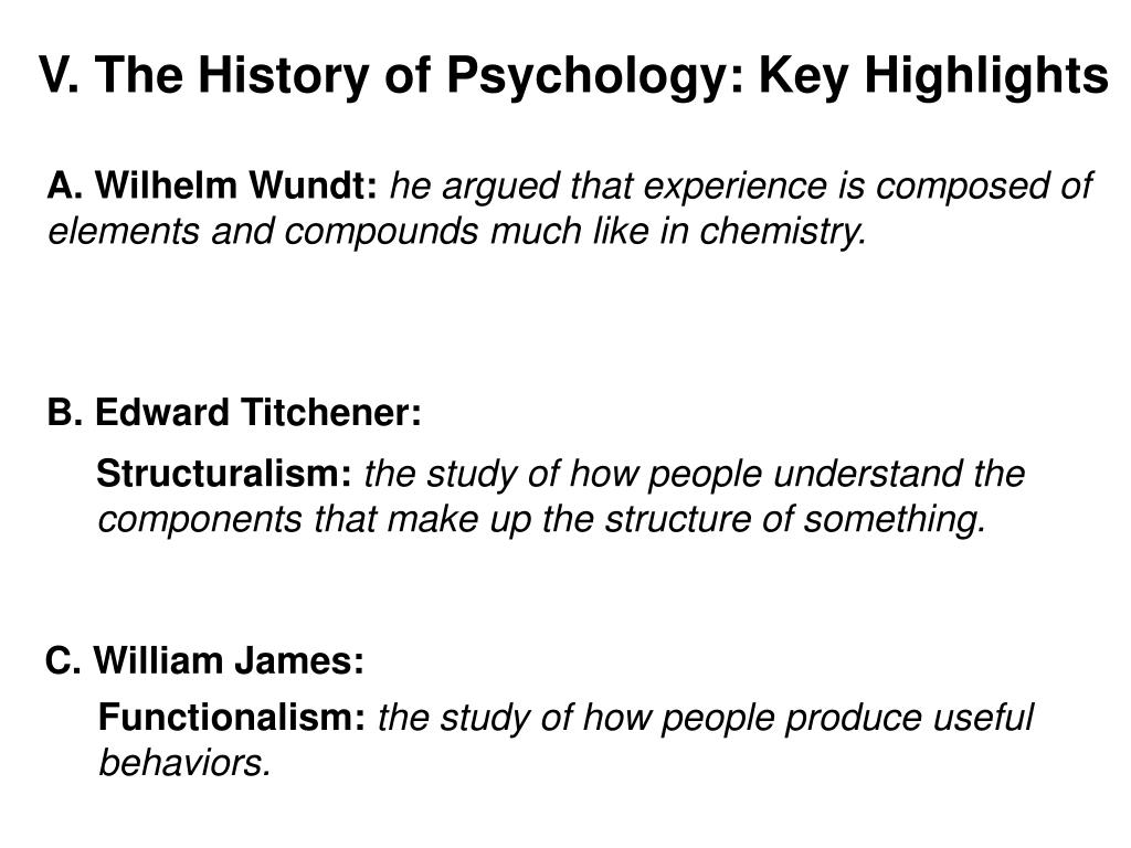 V. The History of Psychology: Key Highlights