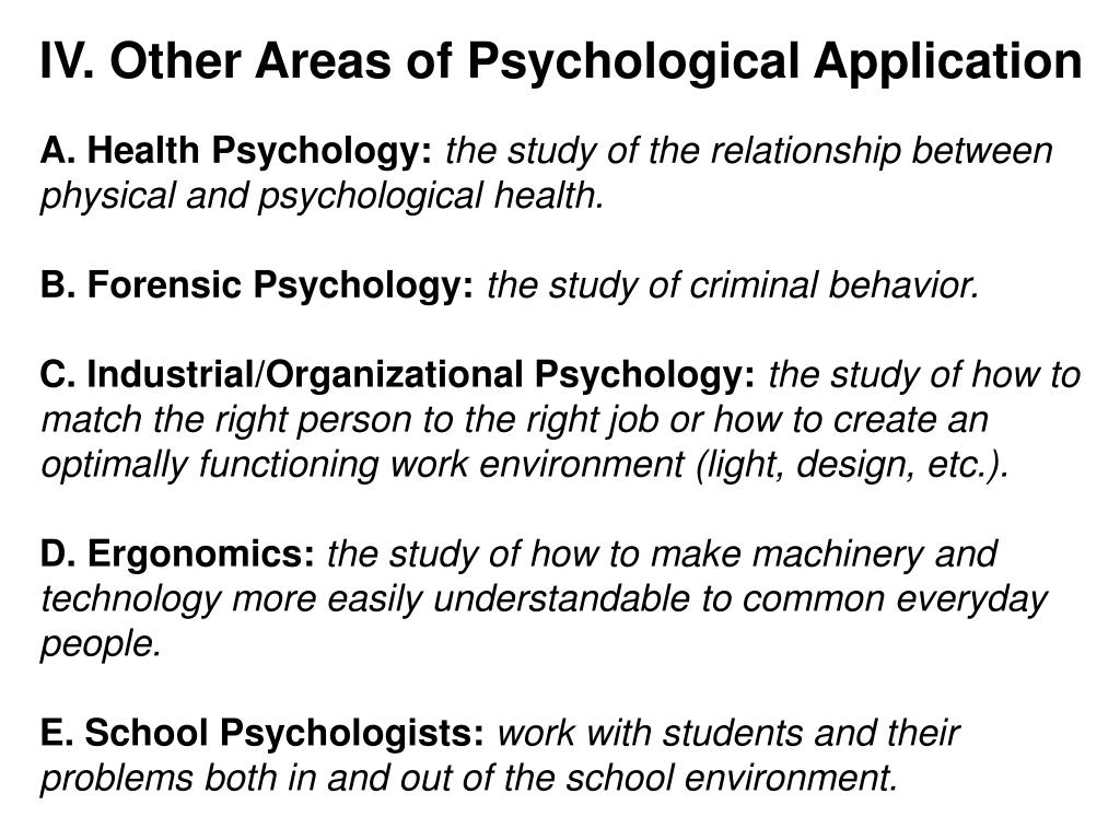 IV. Other Areas of Psychological Application