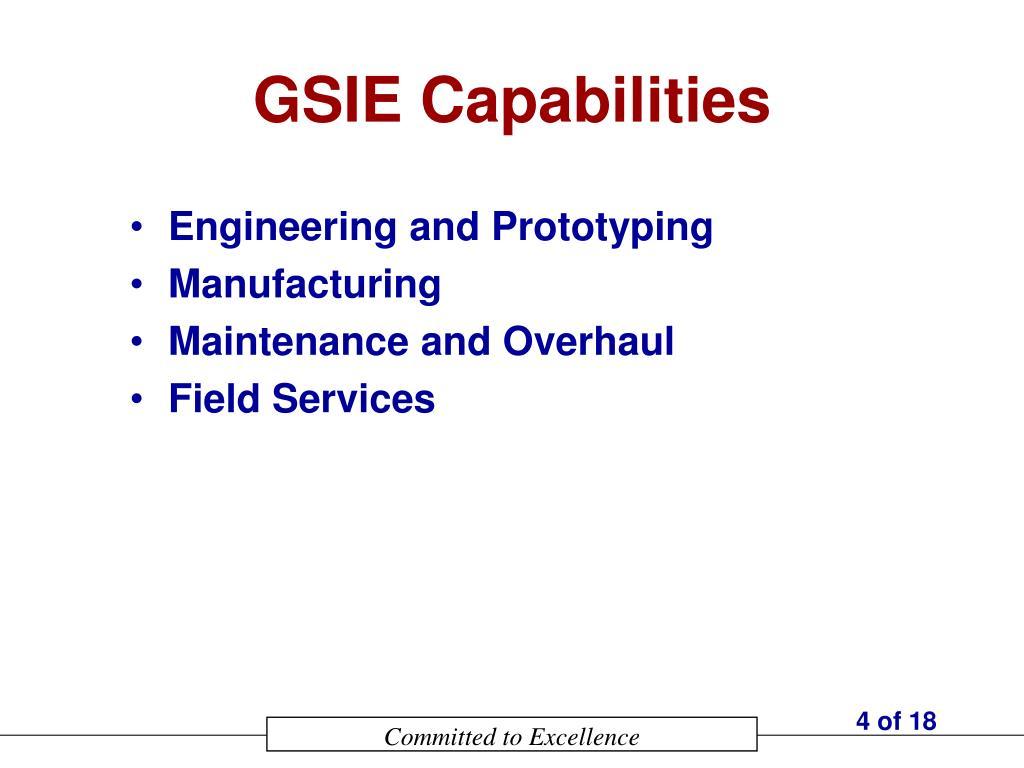 GSIE Capabilities