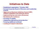 initiatives to date