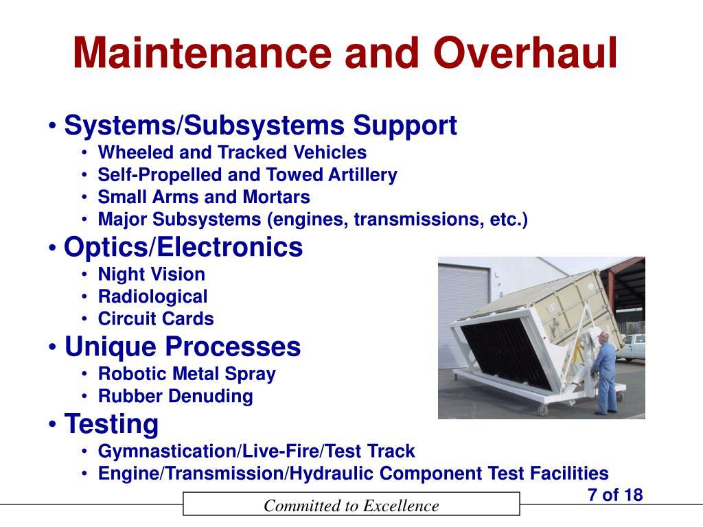 Maintenance and Overhaul