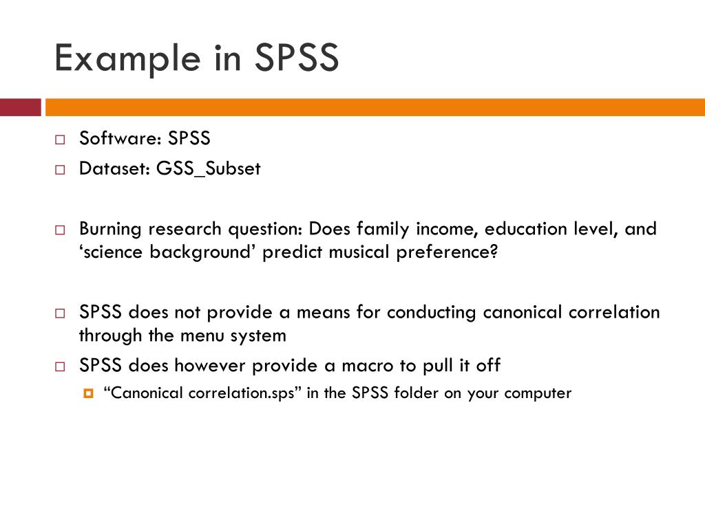 Example in SPSS