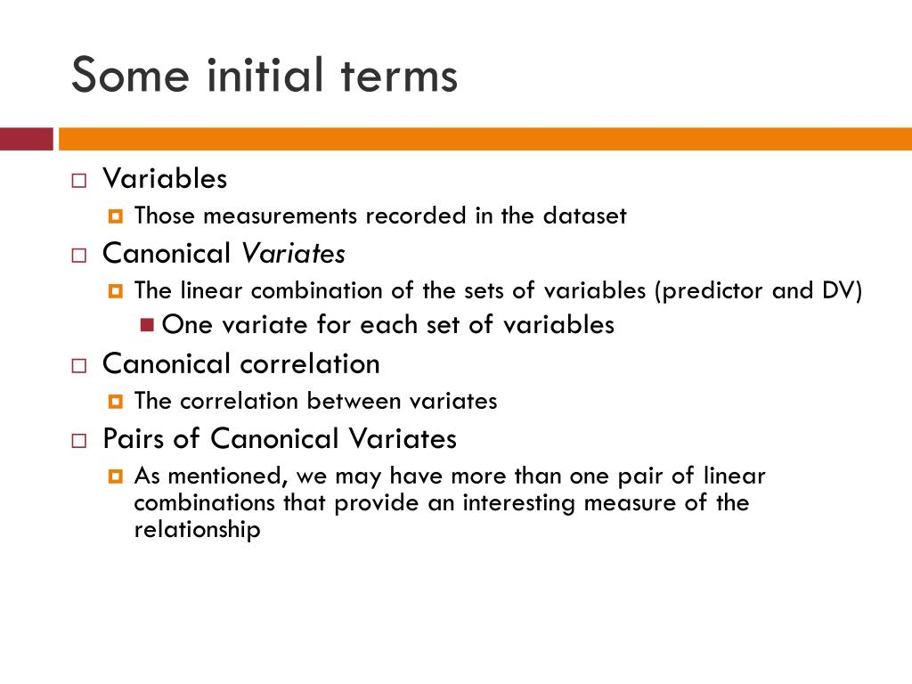 Some initial terms
