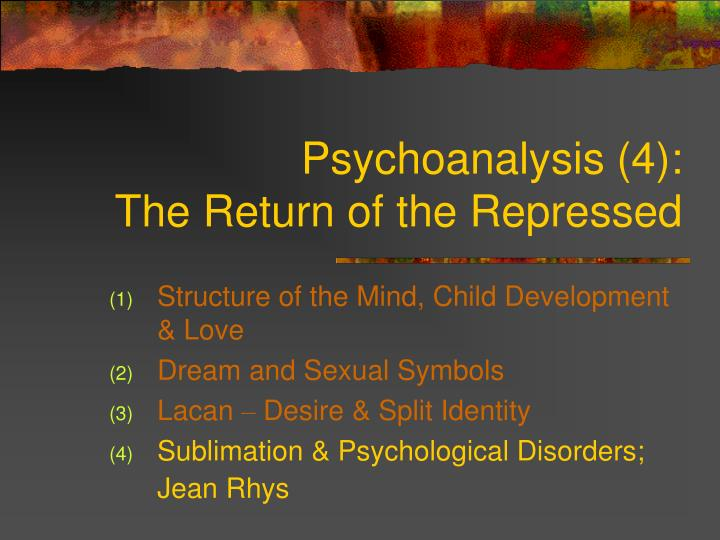 Psychoanalysis 4 the return of the repressed