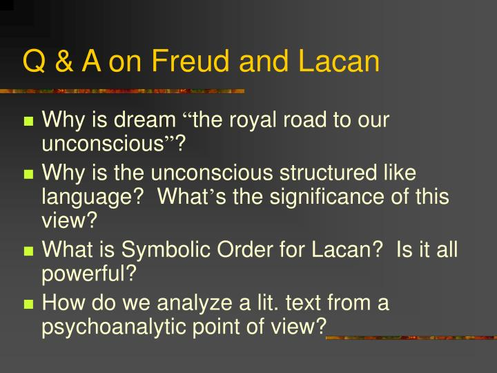 Q a on freud and lacan