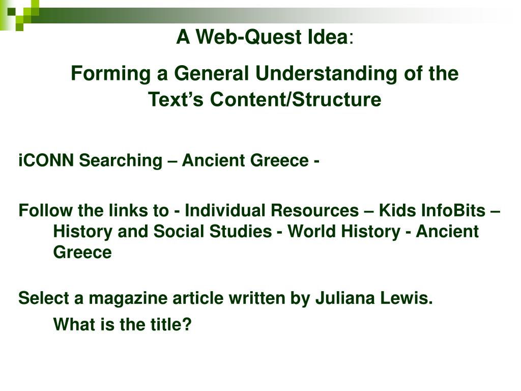 A Web-Quest Idea