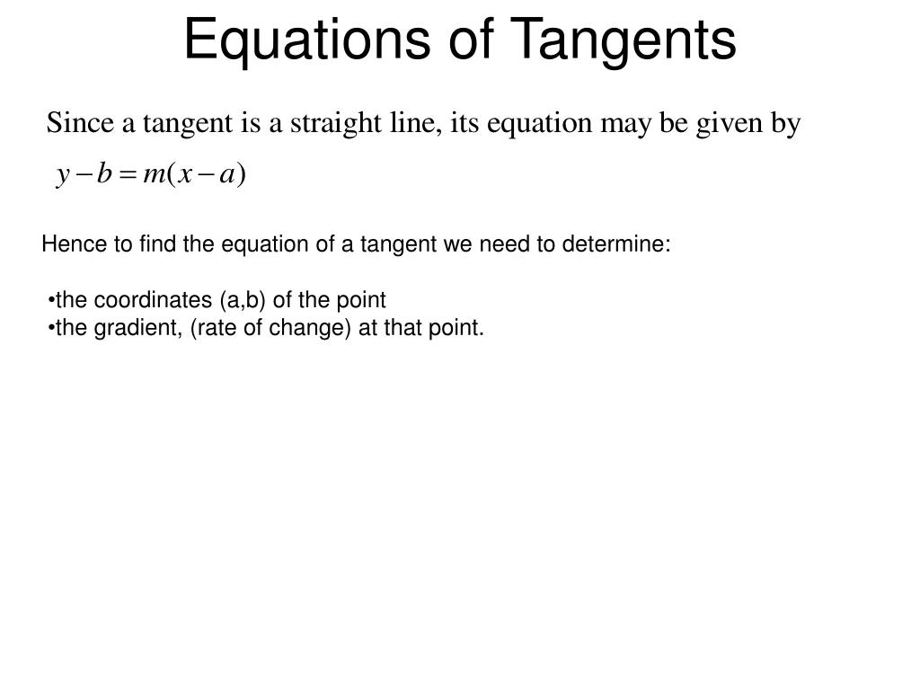 Equations of Tangents