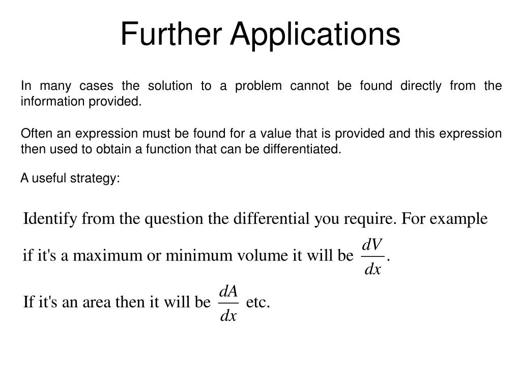 Further Applications