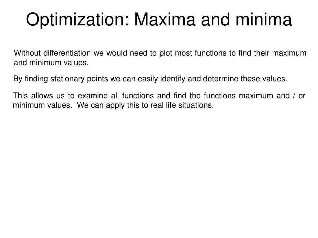 Optimization: Maxima and minima