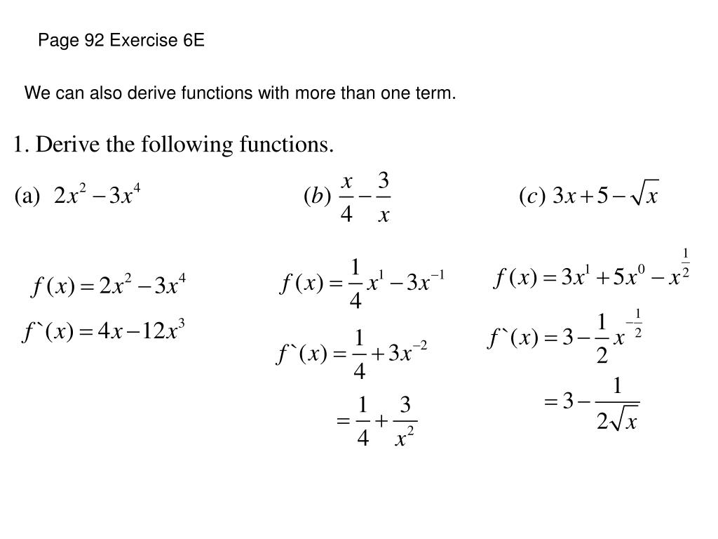 Page 92 Exercise 6E