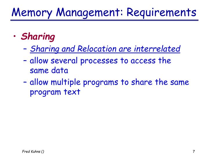 Memory Management: Requirements