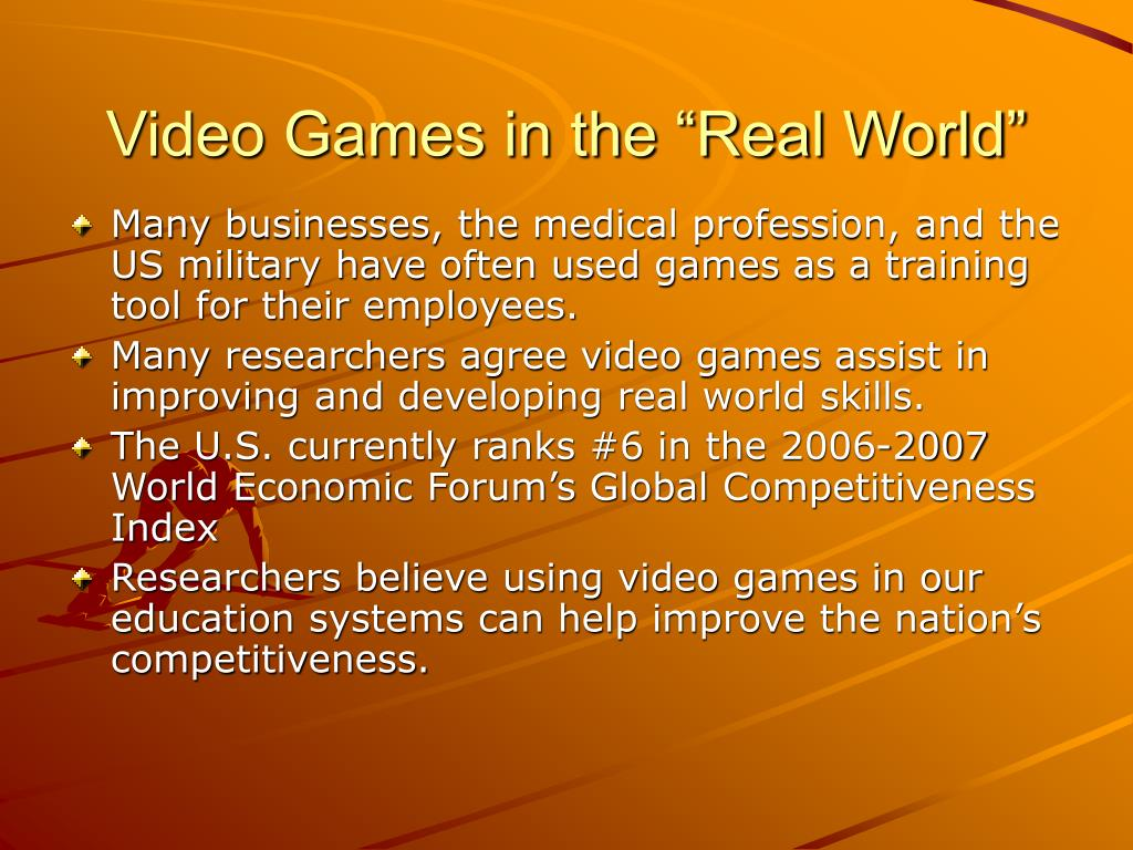 "Video Games in the ""Real World"""
