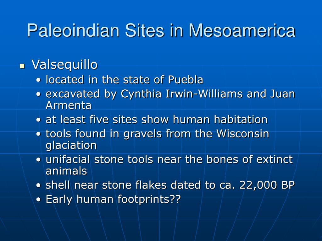 Paleoindian Sites in Mesoamerica