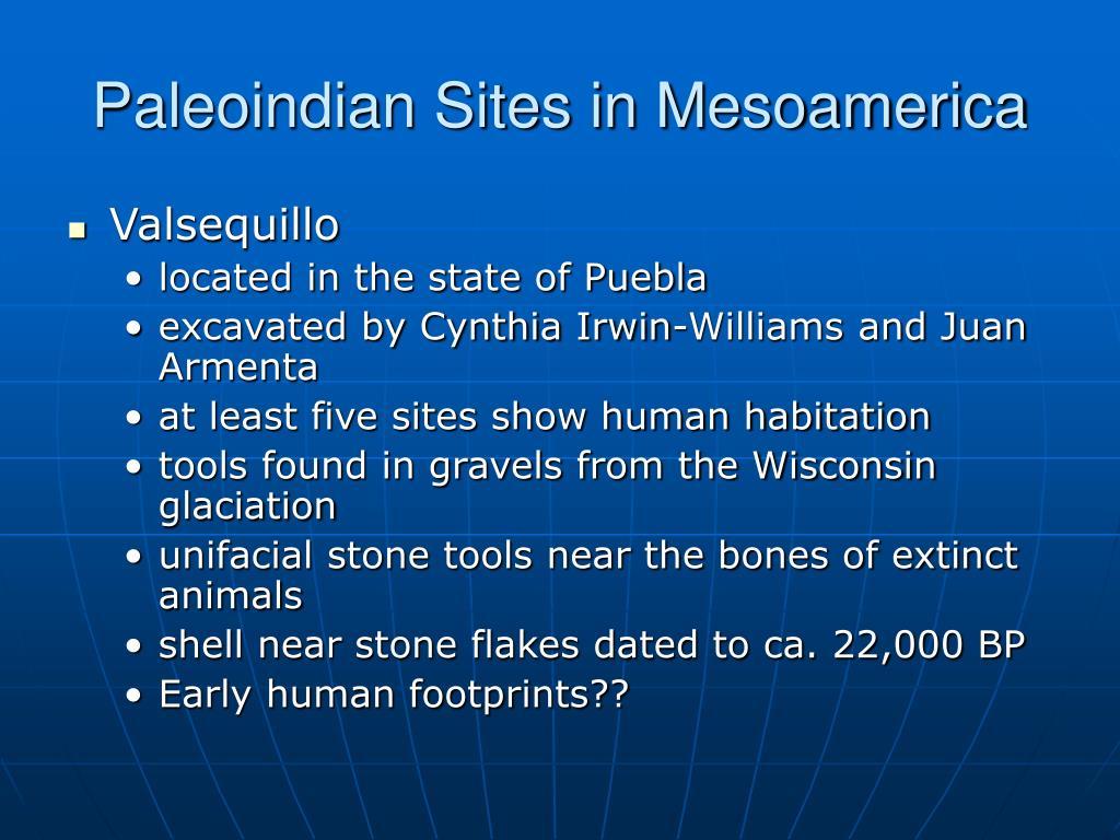 Paleoindian Sites in Mesoamerica
