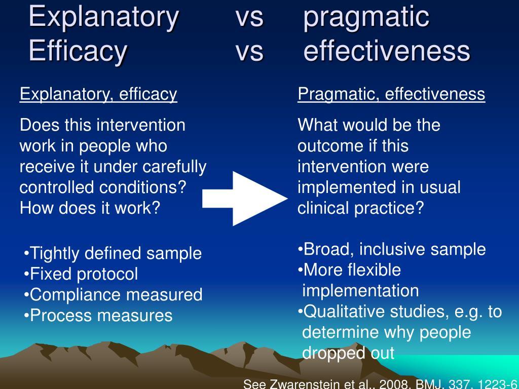 Explanatoryvs  pragmatic