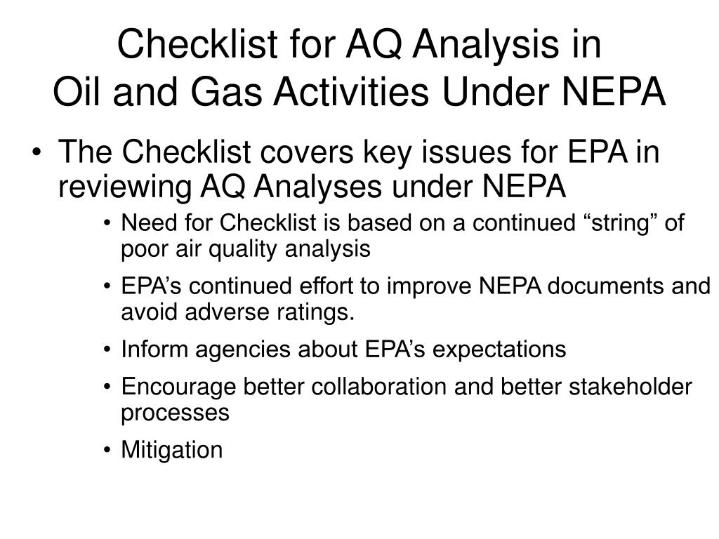 Checklist for AQ Analysis in