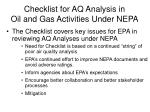 checklist for aq analysis in oil and gas activities under nepa
