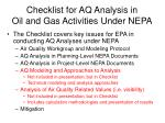 checklist for aq analysis in oil and gas activities under nepa24