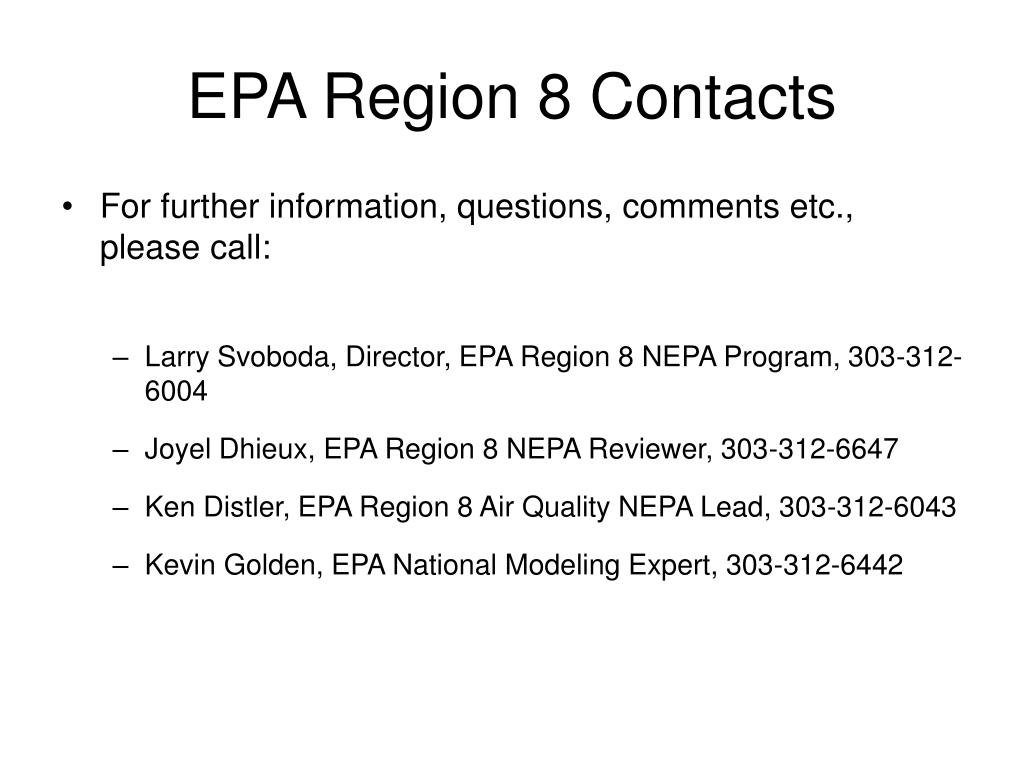 EPA Region 8 Contacts
