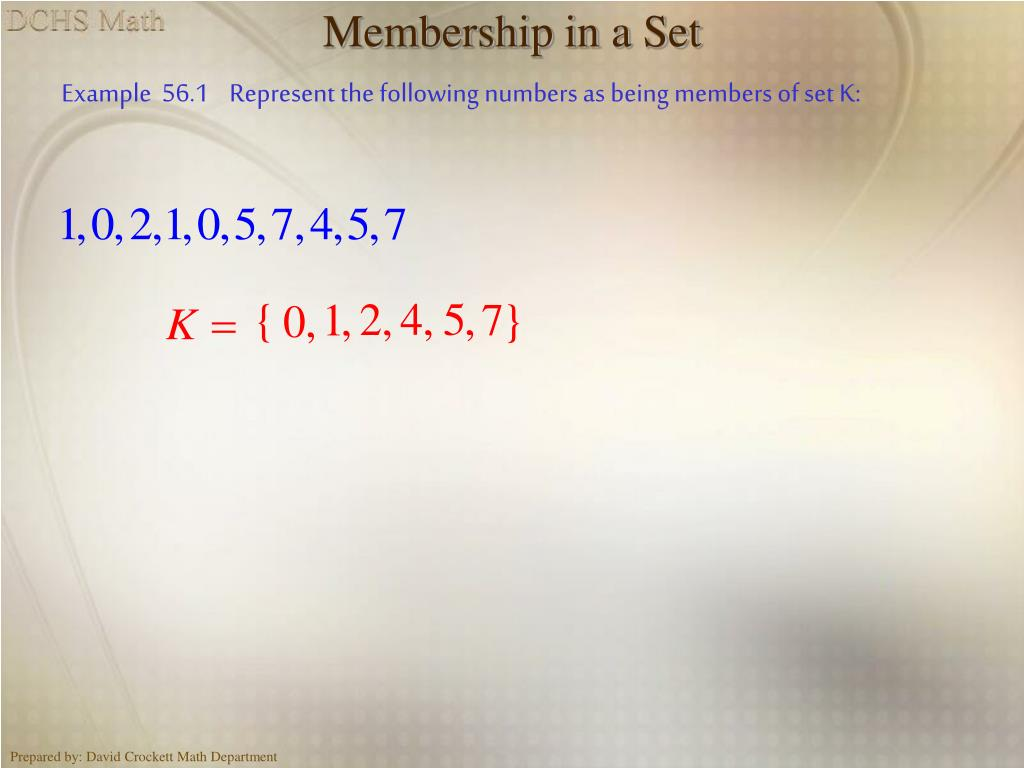 Membership in a Set