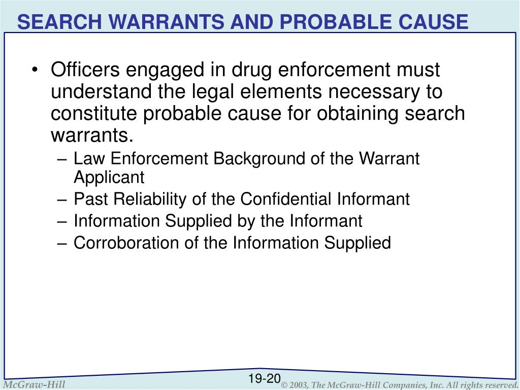 SEARCH WARRANTS AND PROBABLE CAUSE