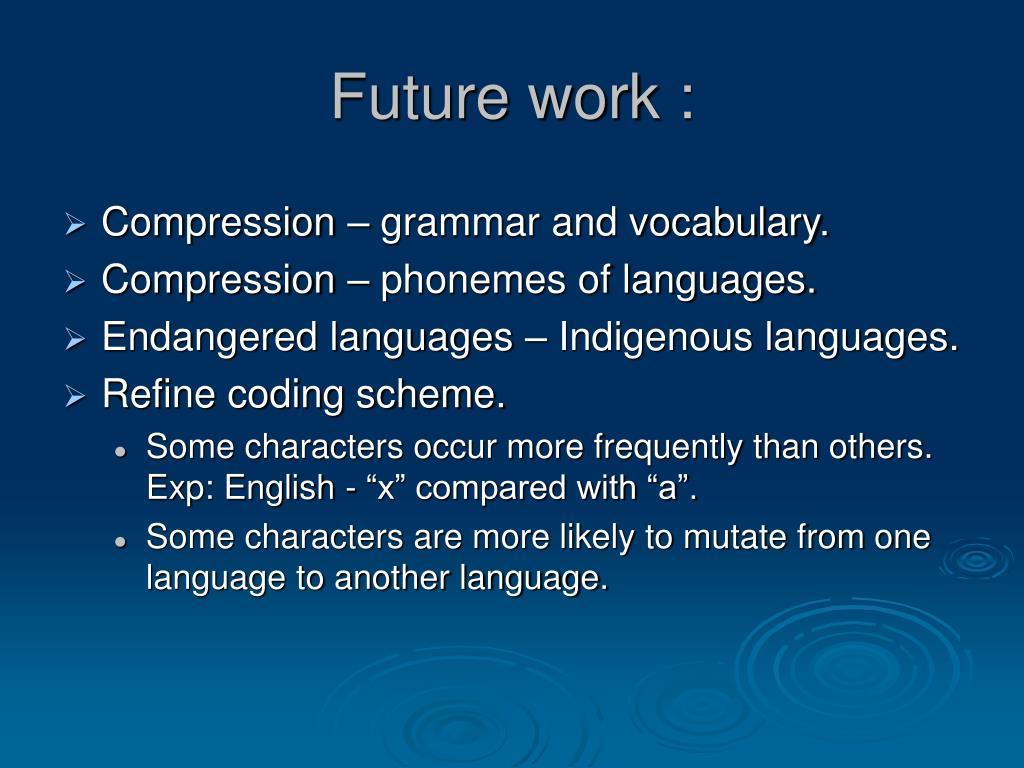 Future work :