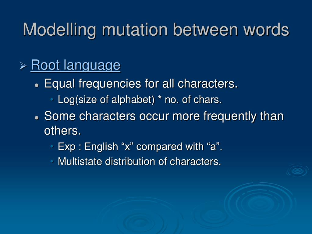 Modelling mutation between words