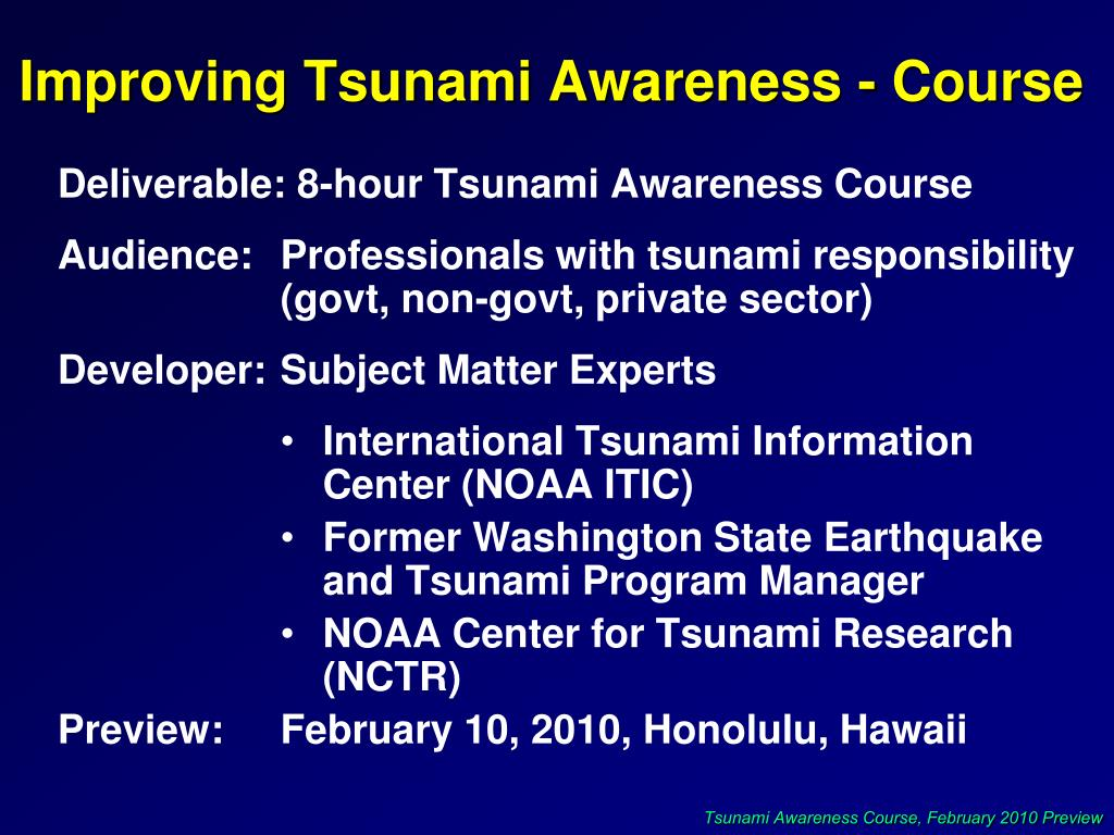 Improving Tsunami Awareness - Course