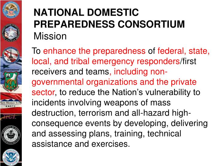 National domestic preparedness consortium mission