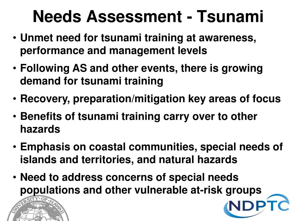Needs Assessment - Tsunami