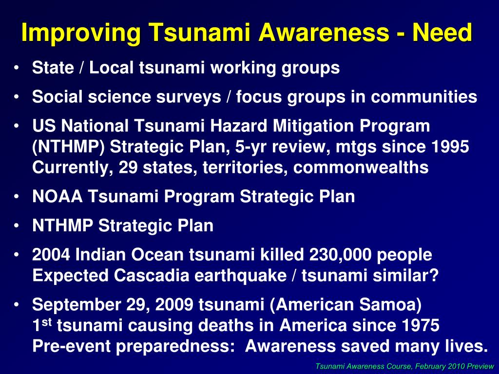 Improving Tsunami Awareness - Need