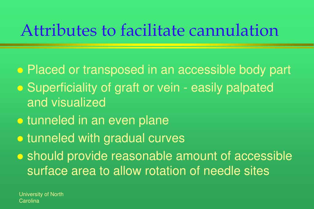 Attributes to facilitate cannulation