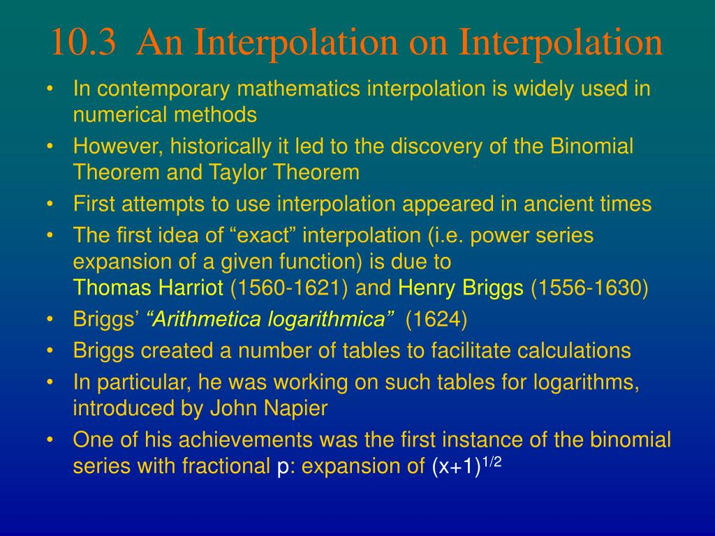 10.3  An Interpolation on Interpolation
