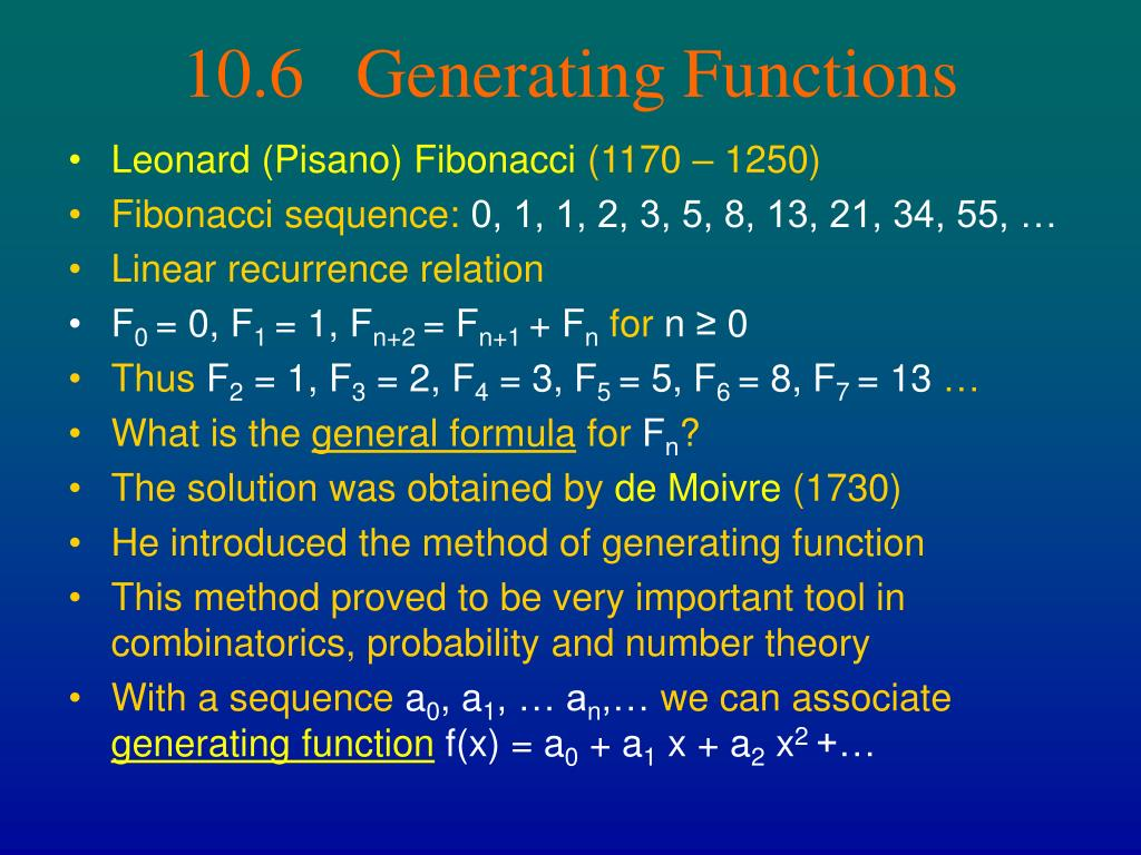 10.6   Generating Functions