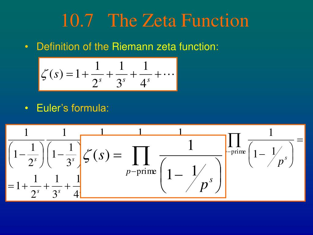 10.7   The Zeta Function