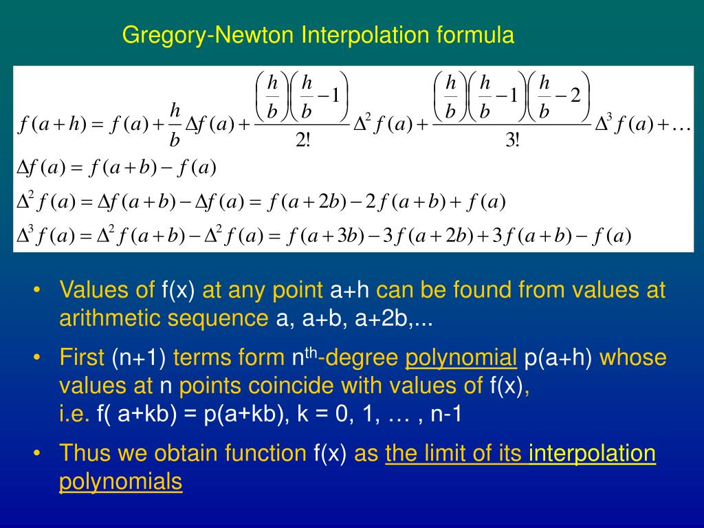 Gregory-Newton Interpolation formula