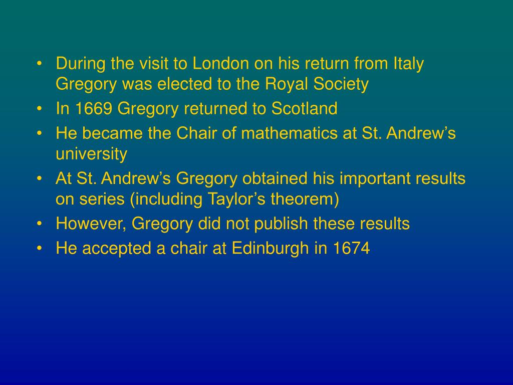 During the visit to London on his return from Italy Gregory was elected to the Royal Society