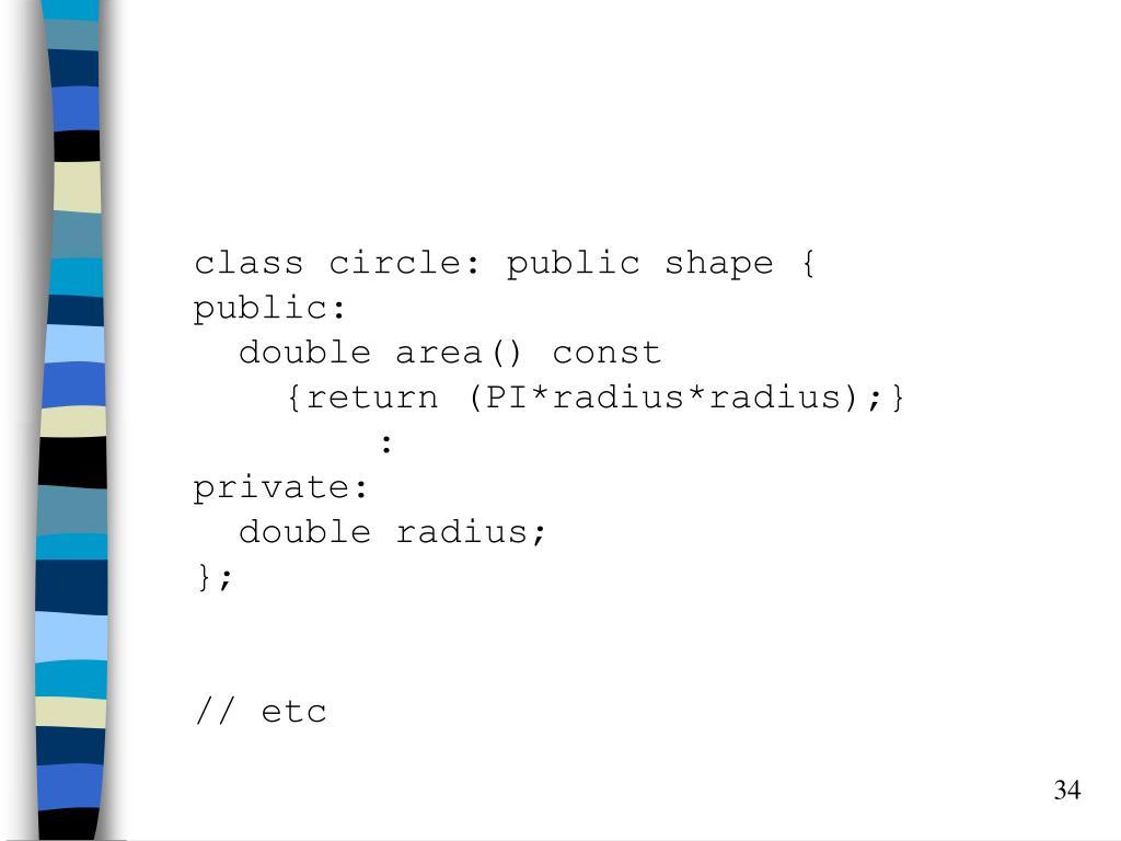 class circle: public shape {