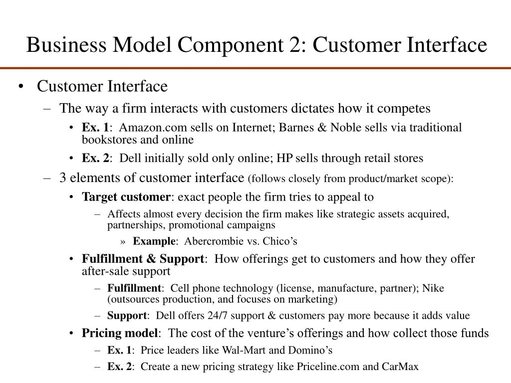 Business Model Component 2: Customer Interface
