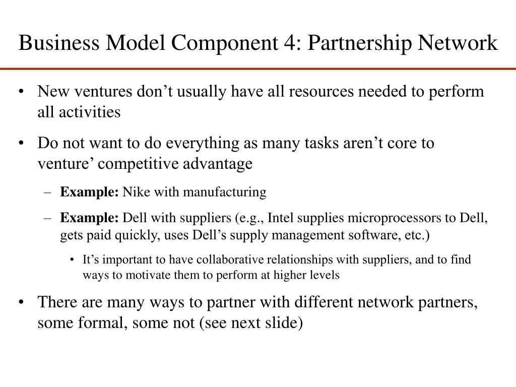 Business Model Component 4: Partnership Network