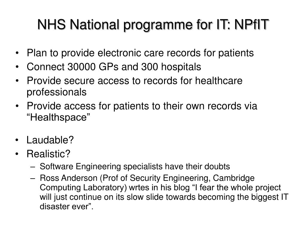 NHS National programme for IT: NPfIT