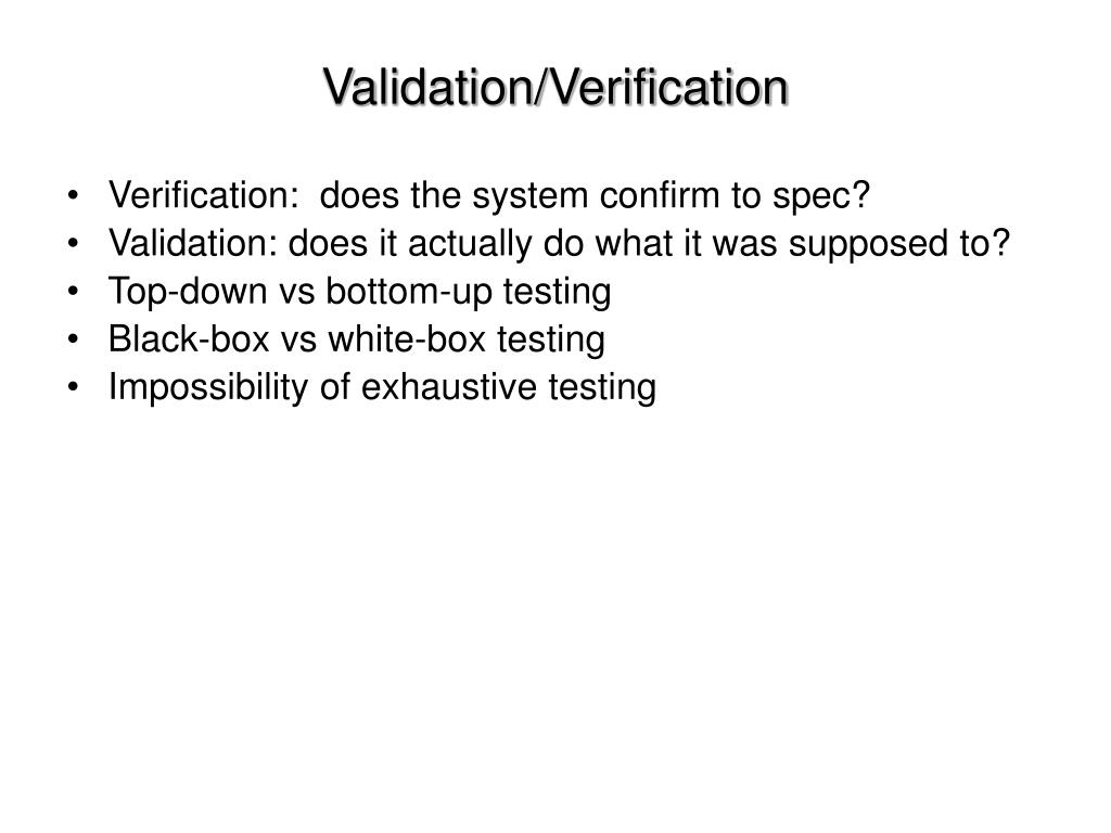 Validation/Verification