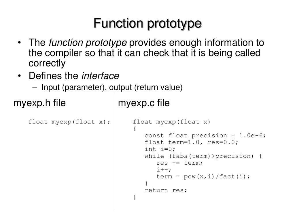 Function prototype