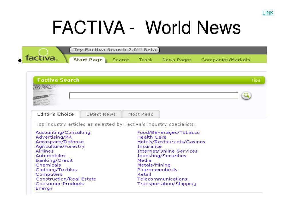 FACTIVA -  World News