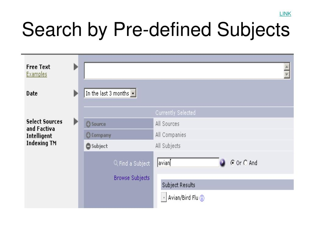 Search by Pre-defined Subjects