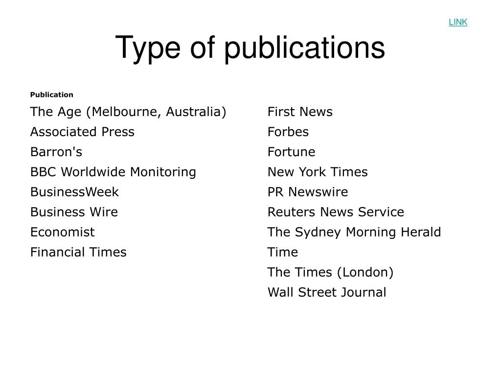 Type of publications