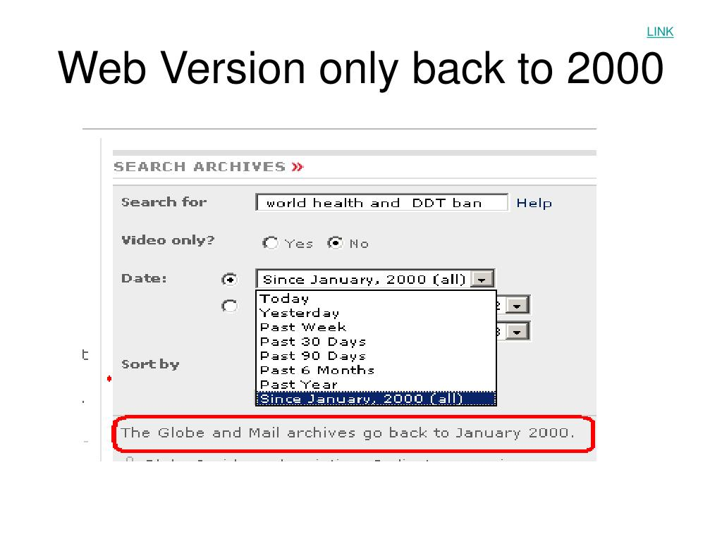Web Version only back to 2000