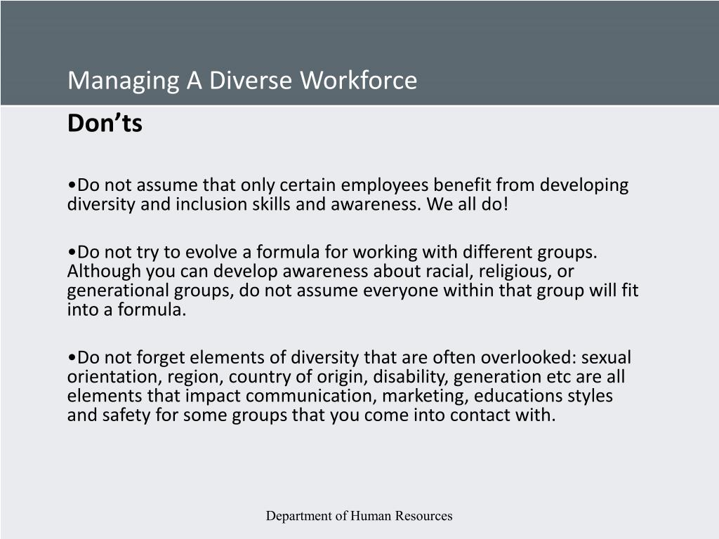 Managing A Diverse Workforce