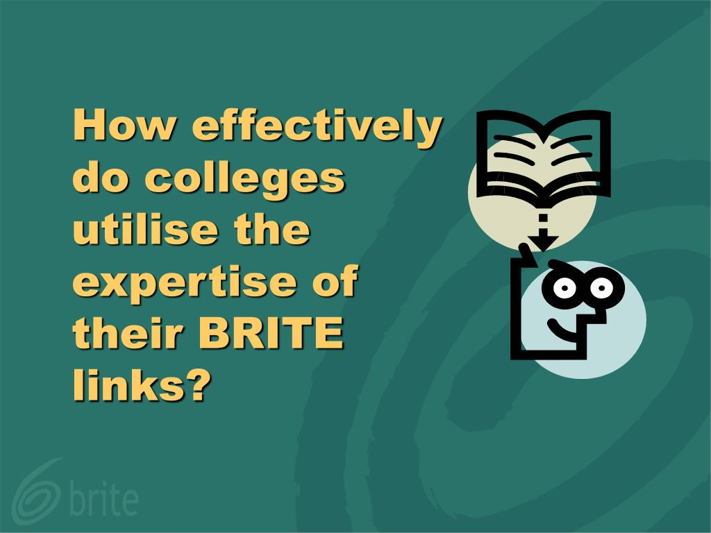 How effectively do colleges utilise the expertise of their BRITE links?