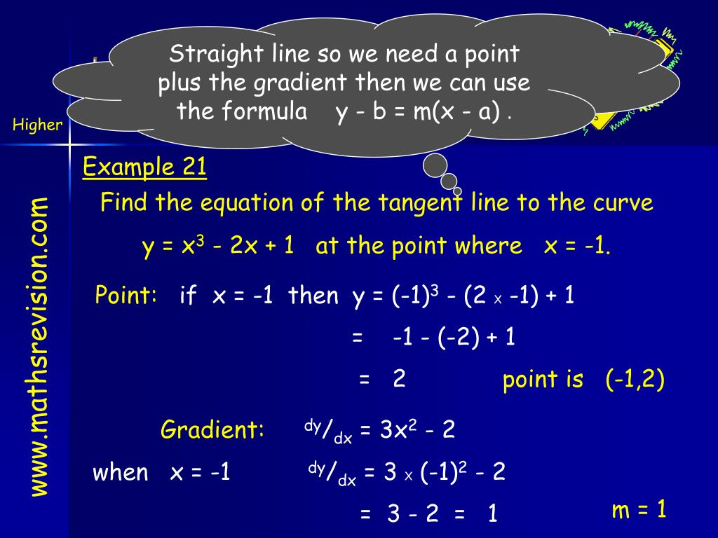 Straight line so we need a point plus the gradient then we can use the formula    y - b = m(x - a)